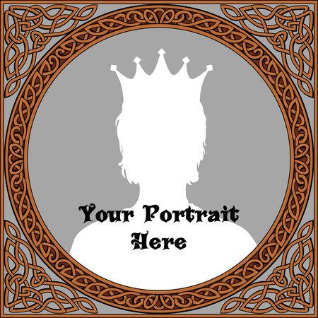Vintage frame for portrait in celtic style