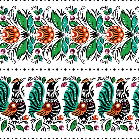 Gorodets traditional painting  Seamless pattern with flowers and birds Vector
