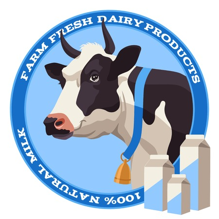 Black and white cow with bell and package of milk on blue background
