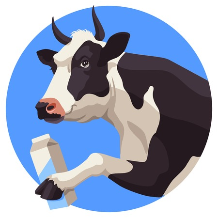 Black and white cow and package of milk on blue background Vector