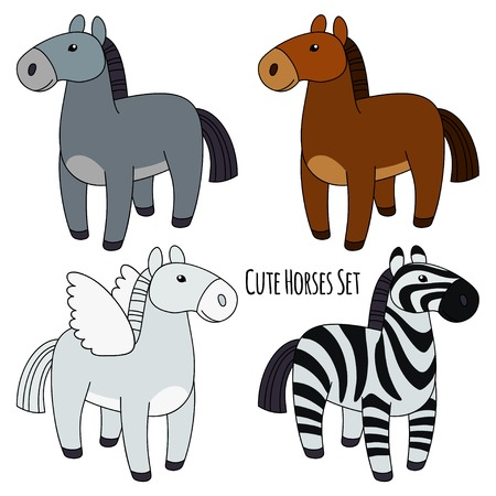 Set of Four Horses isolated. Gray, Brown, Angel, Zebra Vector