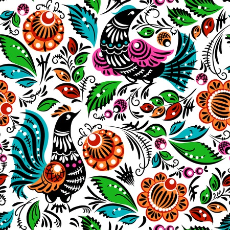 Folk traditional painting. Seamless pattern with flowers and birds