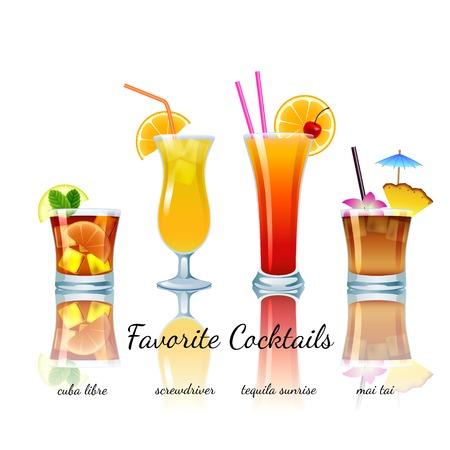 Favoriete cocktails geplaatst geïsoleerd. Cuba Libre, schroevendraaier, Tequila Sunrise, Mai Tai Stock Illustratie