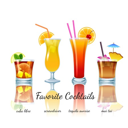 Favoriete cocktails geplaatst geïsoleerd. Cuba Libre, schroevendraaier, Tequila Sunrise, Mai Tai Stockfoto - 29289973
