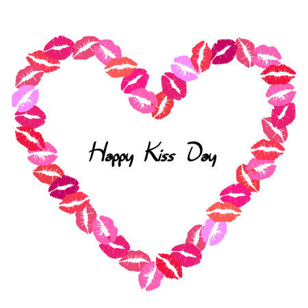 kissing lips: Kissing lips heart frame, isolated on white background Illustration