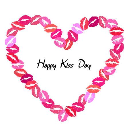 kissing lips: Kissing lips heart frame, isolated on white background Illustration