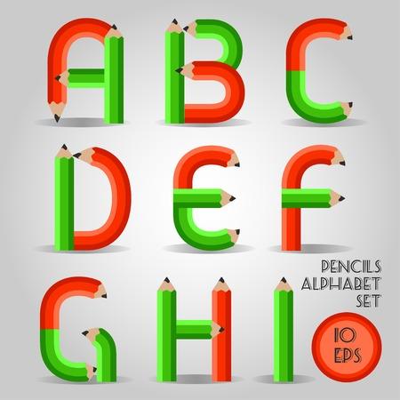 part of me: Alfabeto en estilo lápiz de madera rojo intenso verde. Parte I