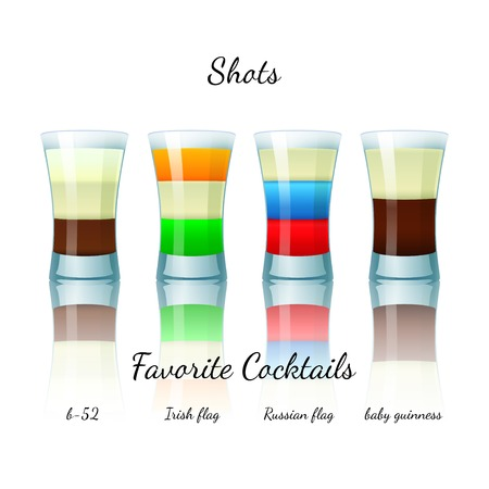 shooter drink: Favorite shot cocktails set isolated. B-52, Irish Flag, Russian Flag, Baby Guiness