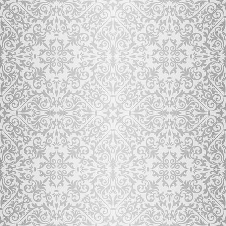 gray flower: Silver gray baroque vintage seamless pattern Illustration