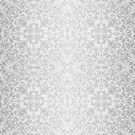 Silver gray baroque vintage seamless pattern Illustration