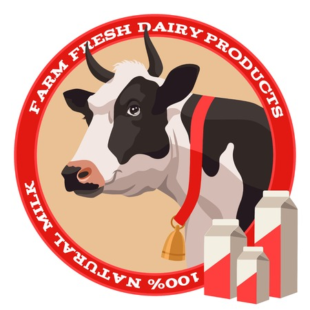 dairy cow: Black and white cow with bell and package of milk label in red style
