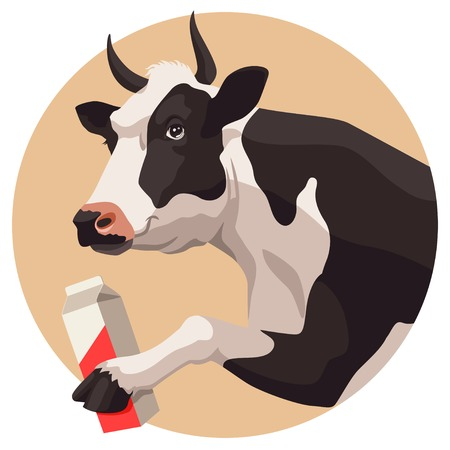 domestic cattle: Black and white cow and package of milk on beige background Illustration