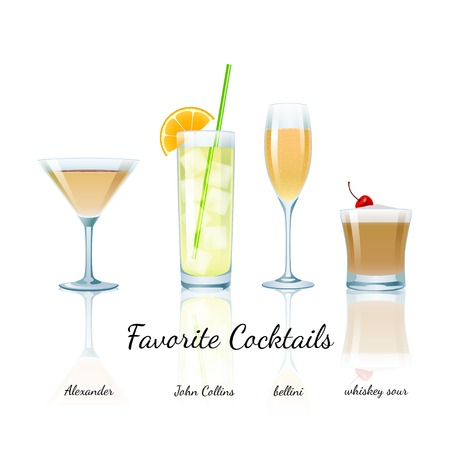 Favorite Cocktails Set isolated Illusztráció