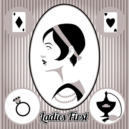 vintage lady: Retro, vintage dame gezicht en accessoires, geïsoleerde