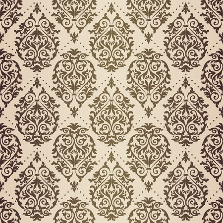 Gold patina antique baroque vintage seamless pattern on beige background Illusztráció