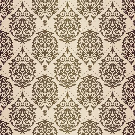 Gold patina antique baroque vintage seamless pattern on beige background Illustration