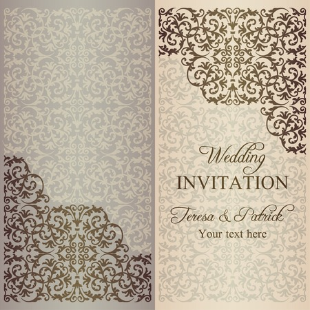 patina: Antique baroque wedding invitation, gold patina on beige background
