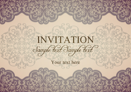 patina: Antique baroque invitation, gold patina on beige background Illustration