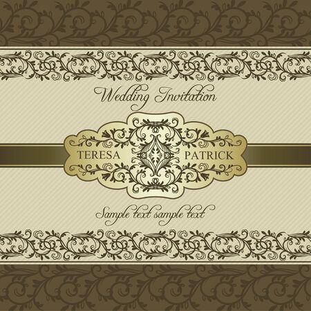 Antike barocke Hochzeitseinladung mit Band, Gold auf hellem Hintergrund Standard-Bild - 29835050