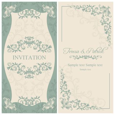 골동품 바로크 식 결혼식 초대장, 베이지 색 배경에 파란색 일러스트