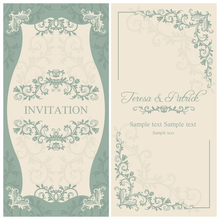 Antique baroque wedding invitation, blue on beige background Illusztráció