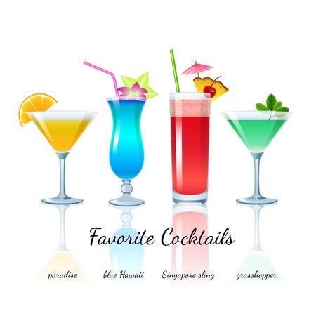 Favorite Cocktails Set isolated  Paradise, Blue Hawaii, Singapore Sling and Grasshopper Illustration