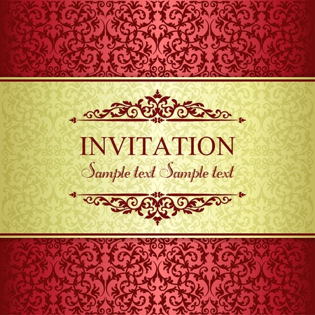 baroque border: Baroque invitation card in old-fashioned style, gold and red