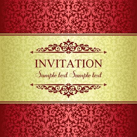 borde de flores: Tarjeta de invitaci�n en estilo barroco pasado de moda, oro y rojo