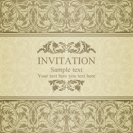Baroque invitation card in old-fashioned style, pastel beige