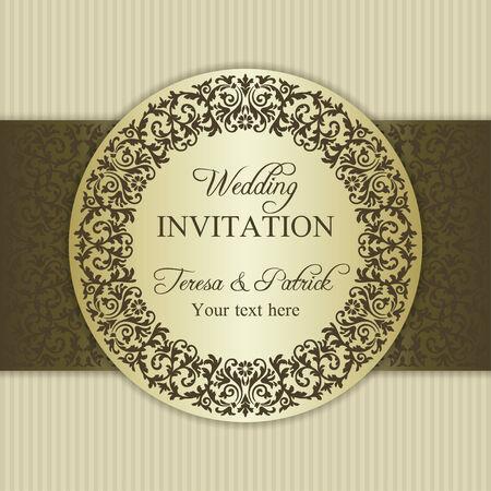 baroque border: Antique baroque wedding invitation, ornate round frame, gold and beige