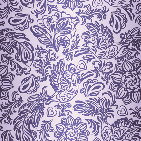 Baroque seamless pattern or background with birds and flowers in purple style