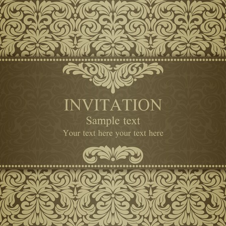 dull: Baroque invitation card in old-fashioned style, dull gold