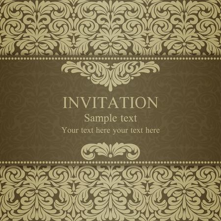 dull: Tarjeta de invitaci�n en estilo barroco a la antigua, oro mate Vectores