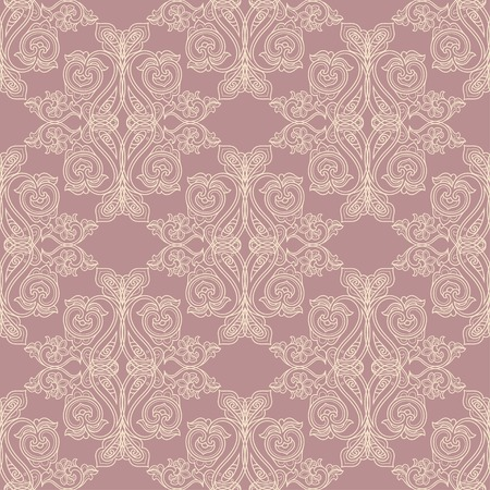 Pink and beige antique baroque vintage seamless pattern or background Vector