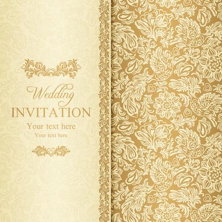 バロック様式の結婚式の招待状、ベージュの背景の金の骨董品します。