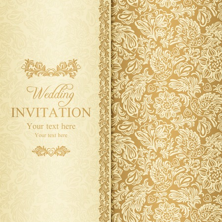 beige: Antique baroque wedding invitation, gold on beige background
