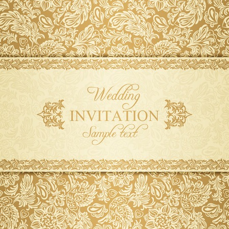 Antique baroque wedding invitation, gold on beige background
