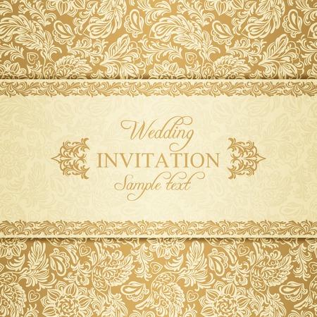 Antique baroque wedding invitation, gold on beige background