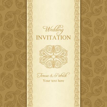 Antique turkish cucumber wedding invitation, beige and gold background Vector