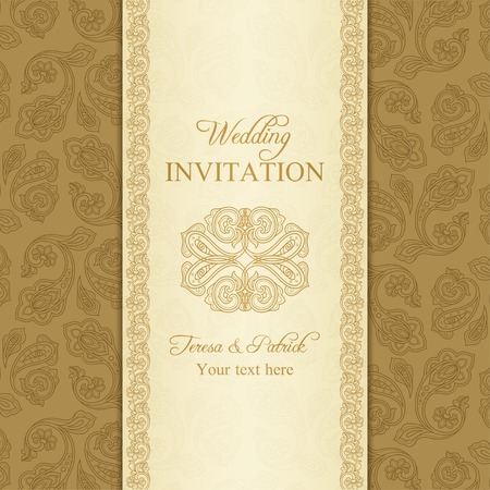 gold brown: Antique turkish cucumber wedding invitation, beige and gold background Illustration