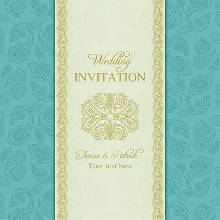 Antique turkish cucumber wedding invitation, beige and turquoise blue background Illustration