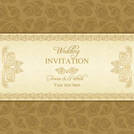 Antique turkish cucumber wedding invitation, beige and gold background Illustration