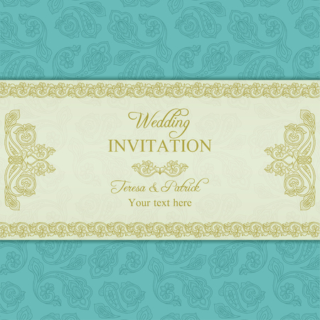 Antique turkish cucumber wedding invitation, beige and turquoise blue background Vector