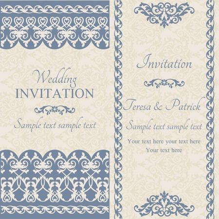 dark beige: Antique baroque wedding invitation, dark blue on beige background