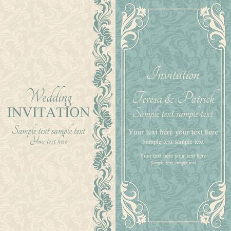 turquoise swirl: Antique baroque wedding invitation, blue on beige background Illustration