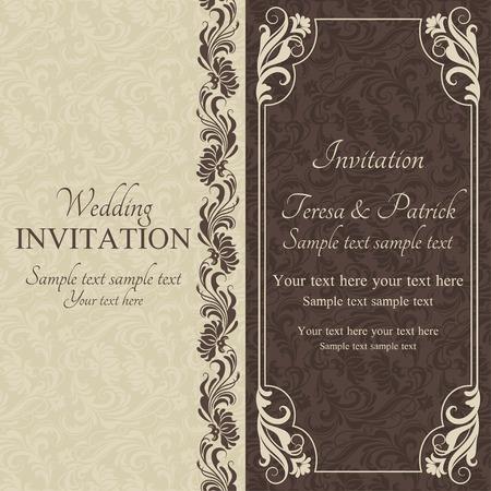 dark beige: Antique baroque wedding invitation, brown on beige background