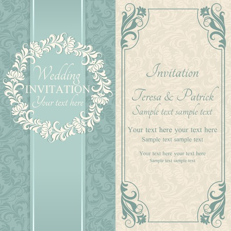 marriage certificate: Antique baroque wedding invitation, ornate round frame, blue and beige