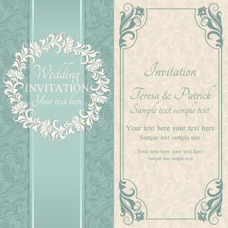 Antique baroque wedding invitation, ornate round frame, blue and beige