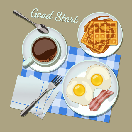 belgian waffle: Breakfast set top view  Coffee, fried egg with bacon, waffles Illustration