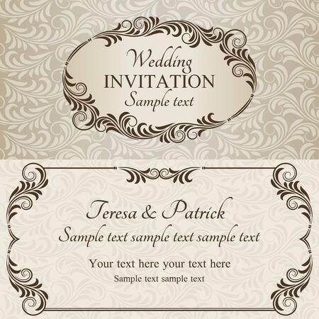 골동품 바로크 식 결혼식 초대장, 베이지 색 배경에 갈색